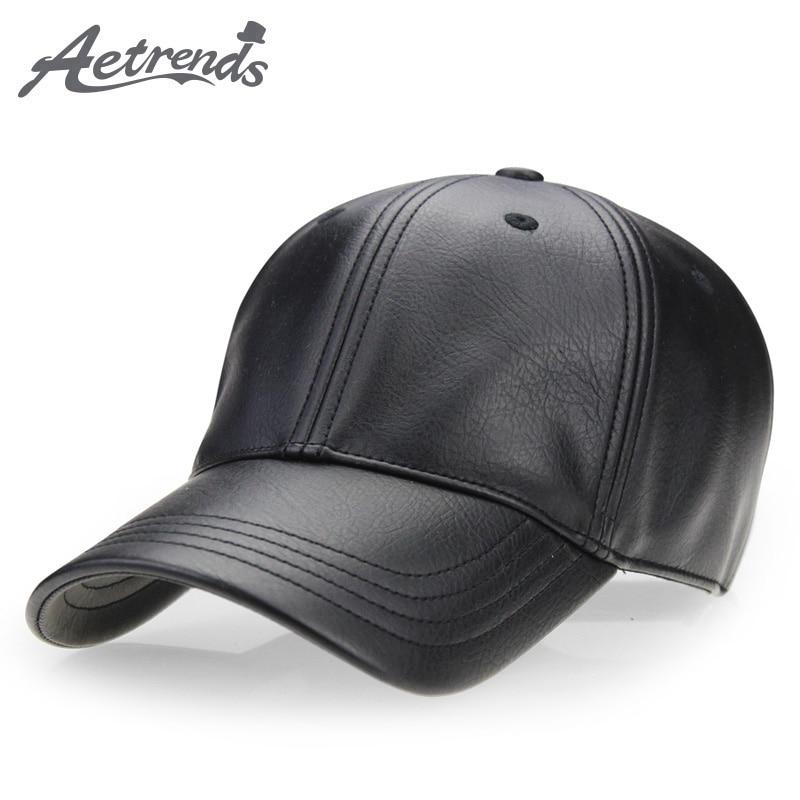 [AETRENDS] Winter black PU leather cap dad hat 6 panel trucker hats solid baseball caps for men bone masculino Z-2658