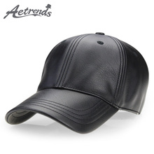 [AETRENDS] Winter black PU leather cap dad hat 6 panel truck