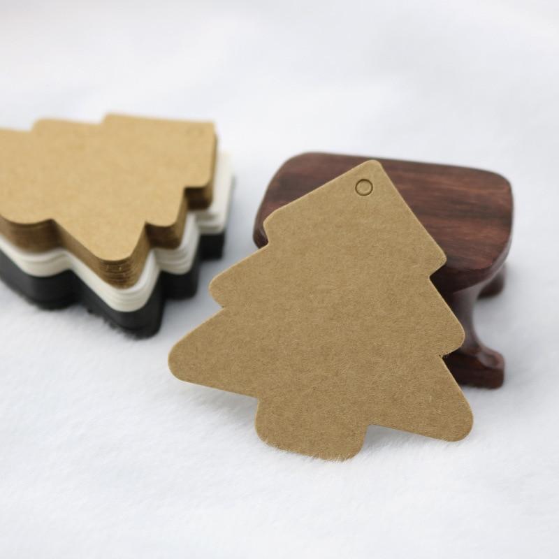 Kraft Paper Christmas Tree Baking Blank Tag Mark Card Listing Hand-painted Products 50PCS 5.5*5.4CM DIY Decoration Hang Gift Tag