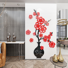 colorful 3d acrylic vase flower adhesive living room waterproof home wall decor stickers