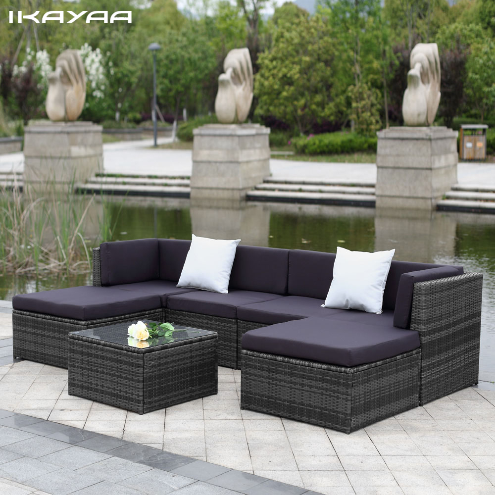 IKayaa US UK Stock Patio Garden Furniture Sofa Set Ottoman Corner Couch  Rattan Wicker Furniture Salon