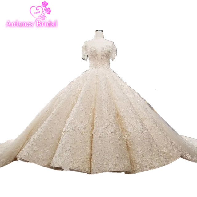 AOLANES Luxurious Waves Arabic 2018 Ball Gown Lace Up Back Beading Crystals Wedding Dresses with Long Real Photos Bridal Dress