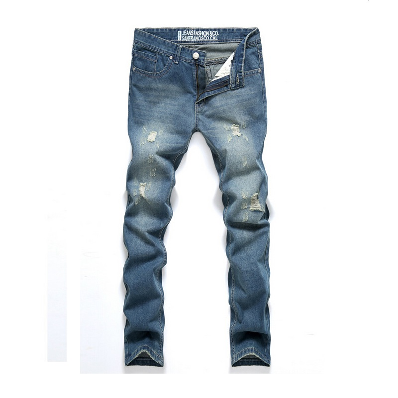 2015 Fashion Brand Classic Men's Tapered Jeans Robin Pants Men Denim Male Ripped Hole Man Skinny Size 38