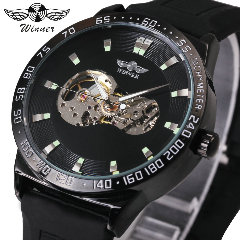 где купить WINNER Fashion Watch Men Automatic Mechanical Watches Skeleton Dial Rubber Strap 3D Design Classic Black Wristwatch montre homme по лучшей цене