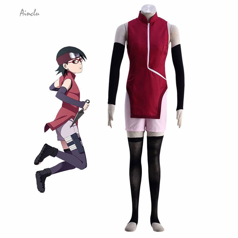 Ainclu Su Misura BORUTO-NARUTO THE MOVIE-Uchiha Sarada Cosplay Costume Nuove Donne Cheongsam Anime Vestiti Per Halloween