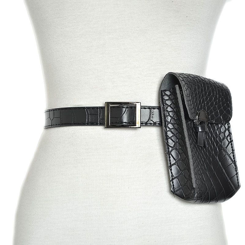 Nuevo 2018 Europa y América mujeres cinturones de mujer de moda salvaje cocodrilo patrón de imitación cuero mini bolsillos cinturones de mujer