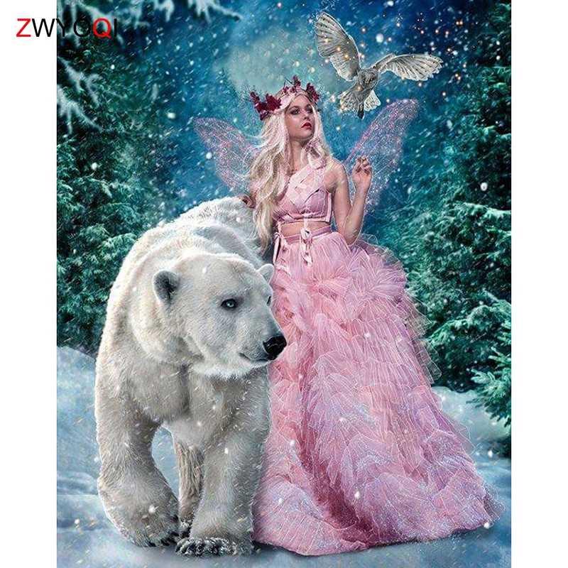Полная квадратная Алмазная вышивка медведь красивая девушка лес голубь DIY 3D Алмазная мозаика полная круглая Алмазная картина вышивка крестиком