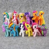 12 Pieces Set Little Pvc Toy Figures Mlp Princess Celestia Luna Unicorn Horse Plush Doll