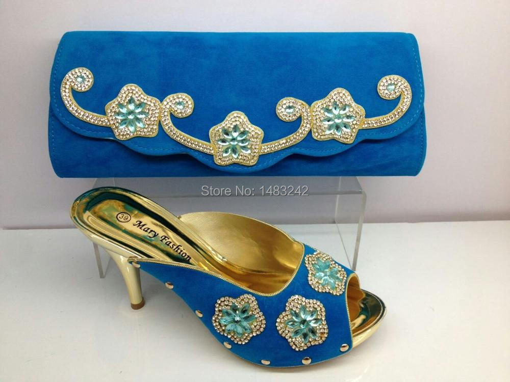 ФОТО African High Heels Matching Bag with skyblue colo in ME0070 Wedding Italian Shoes And Bag Set Fast Shipping size 37-42