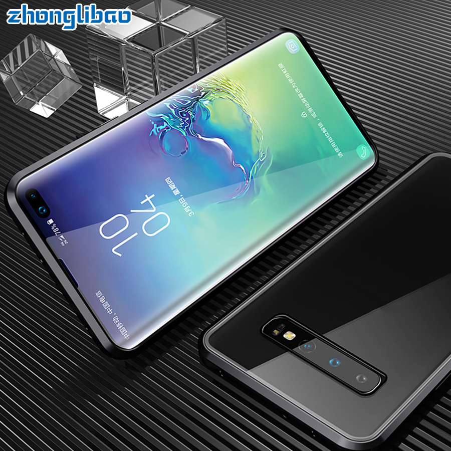 Luxo Vidro Duplo Magnético Caixa De Metal para Samsung S10 5G S9 S8 Plus Nota 9 8 A7 A9 2018 a50 A60 A70 A30 A80 2019 360 Cobertura Completa