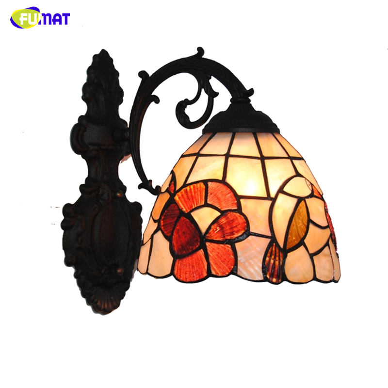 FUMAT 7 Tiffany Wall Lamps LED Natural Shell Bird & Flowers Lampshade Wall Sconces Lights Home Decor BAR Living room Wall Lamp