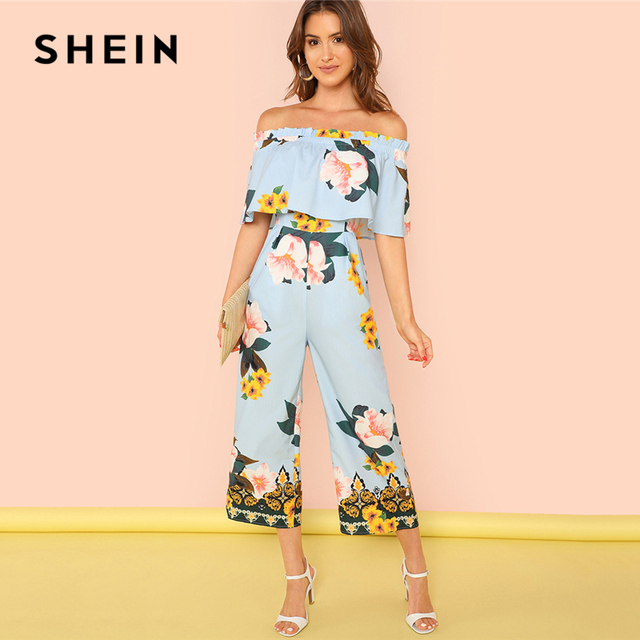 0e75396711 SHEIN Multicolor Vacation Bohemian Beach Frill Trim Flounce Foldover Off  Shoulder Floral Jumpsuit Summer Women Casual