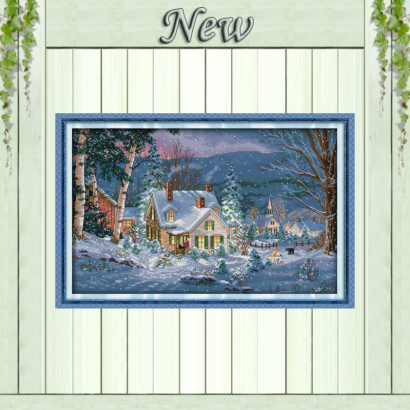 Snowy Night of Christmas Scenery, 11CT print på lærred DMC 14CT Cross Stitch sæt, håndarbejde broderi sæt, Scenic Home Decor