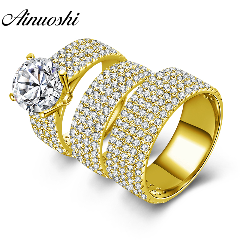 все цены на AINUOSHI 15.5g Real Gold TRIO Rings 10k Yellow Gold Couple Wedding Ring Set 5 Rows Drill Lovers Engagement Wedding Rings Jewelry онлайн