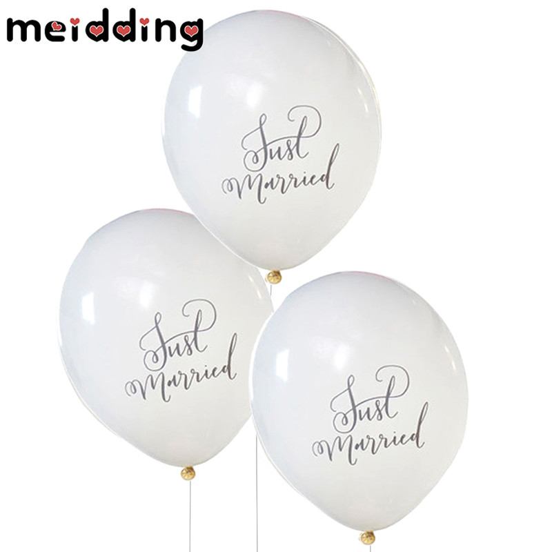 MEIDDING 10pcs Mr Mrs Just Married Team Bride Round Latex Balloon Valentines Day Wedding ...