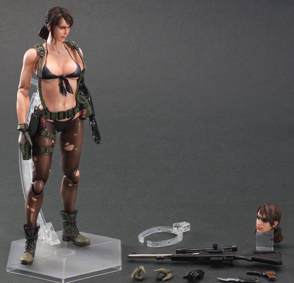 Play Arts Kai Metal Gear Solid 5 The Phantom Pain Quiet Venom Snake PA 25cm PVC Action Figure Doll Toys Kids Gift Brinquedos 25cm play arts kai metal gear solid 5 the phantom pain quiet venom snake pa pvc action figure doll toys kids gift brinquedos