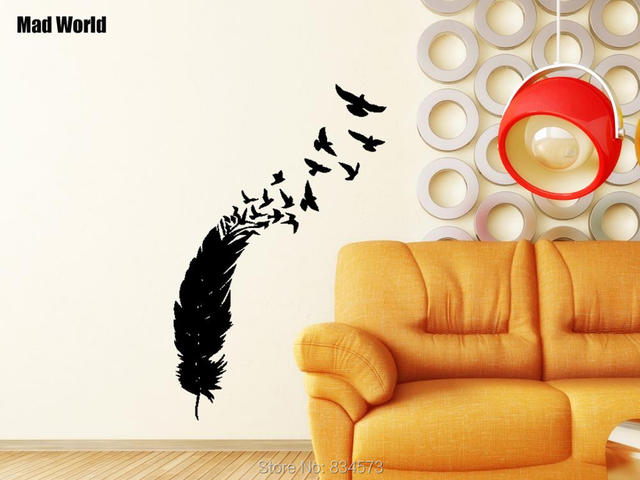 Mad World Feather Birds Nib Style Peacock Wall Art Stickers Decal Home DIY