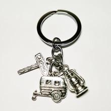 Модные ювелирные изделия мини счастливый Кемпинг брелок для ключей с изображением фонаря, килт булавка, дорожный знак, Автомобильный Брелок Серебряный DIY ручной работы