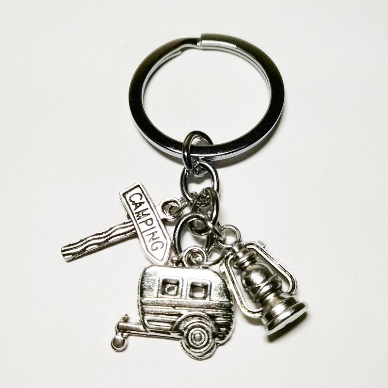 2019 Fashion Jewelry Mini Happy Camping Lantern Keychain, Kilt Pin, Road Sign, Car Key Chain Silver DIY Handmade