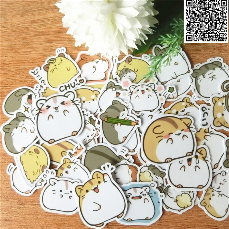 40 Pcs Funny Little Hamster Stickers For Home Decor On Phone Book Macbook Laptop Sticker Decal Fridge Skateboard Doodle Toy