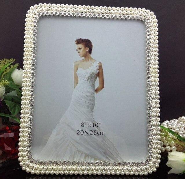 wholesale 10 pieceslot 8x10 pearl rhinestone picture frames bulk wedding favors sf