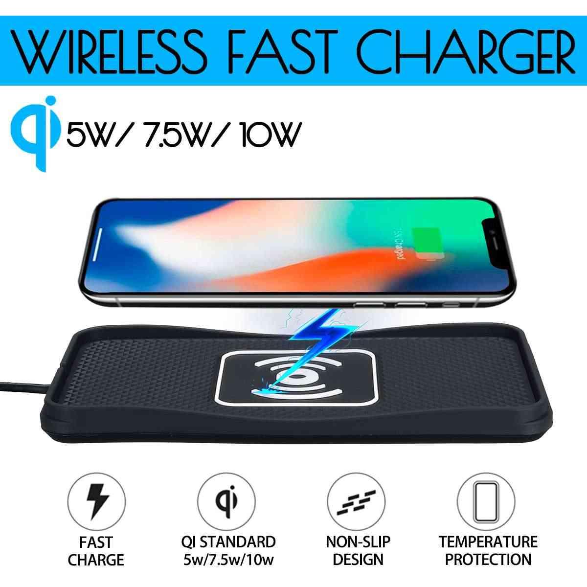 10 W Mobil Qi Wireless Charger Pad Non-Slip Mat Cepat Pengisian Dock Pad untuk Samsung untuk iPhone X XS Mobil Dashboard Pemegang Stand