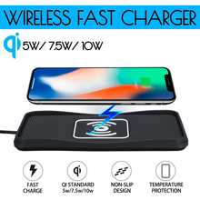 10W Car Qi Wireless Charger Pad Non-slip Mat Fast Charging Dock Pad for Samsung for iPhone X XS Car Dashboard Holder Stand(China)