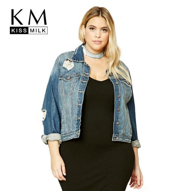 fff04d0517e Kissmilk 2018 Plus Size Women Casual Coats Long Sleeve Hole Button Down  Vintage Denim Jackets Outwear 3XL 4XL 5XL 6XL