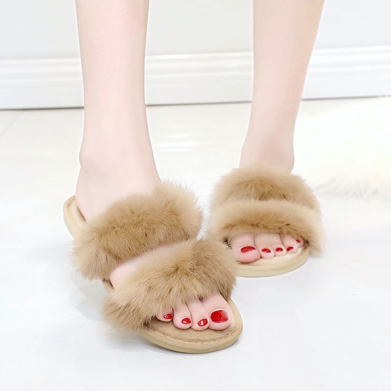 цена Winter Fashion slippers Wome Faux Fur Warm Shoes Woman shoes Slip on Flats Female fur slippers
