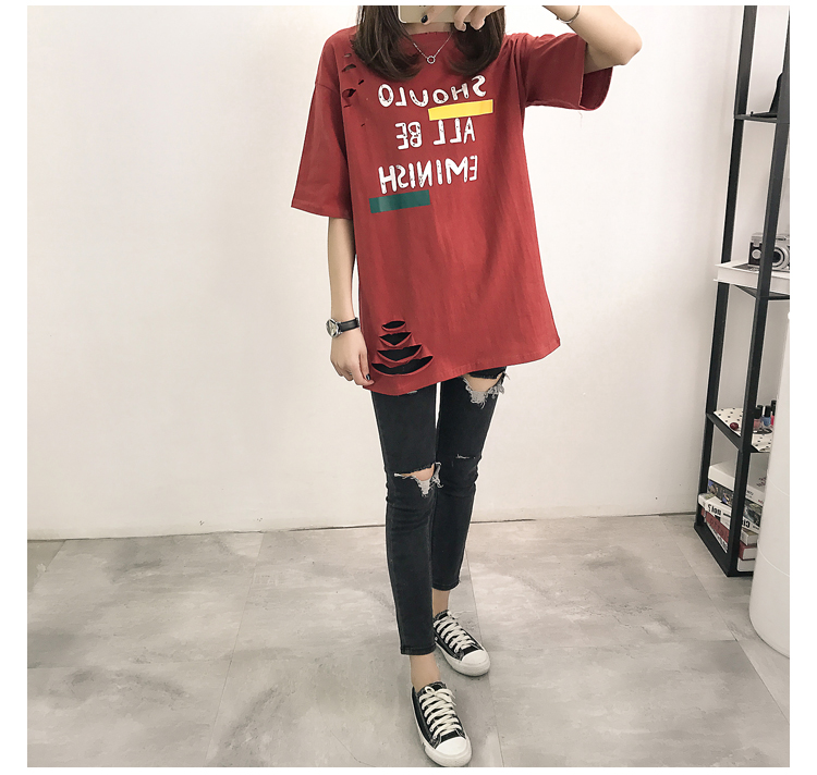 XL- 4XL 2019 new plus size summer loose High Street hole Letter print short sleeve O-Neck women T-shirt top tee TY5 27