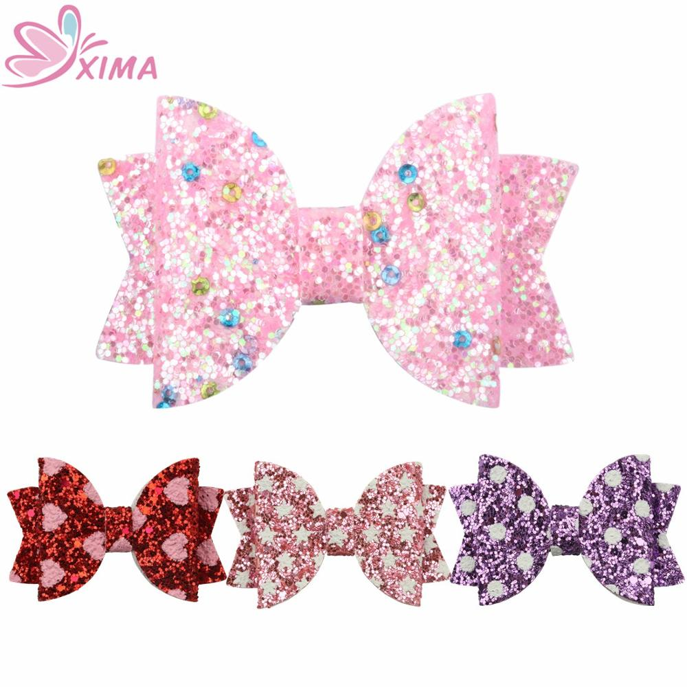 "3/"" Girls Cute Glitter Stars PVC Fabric Hair Bow Hair Clip Bling Mermaid Hairgrip"