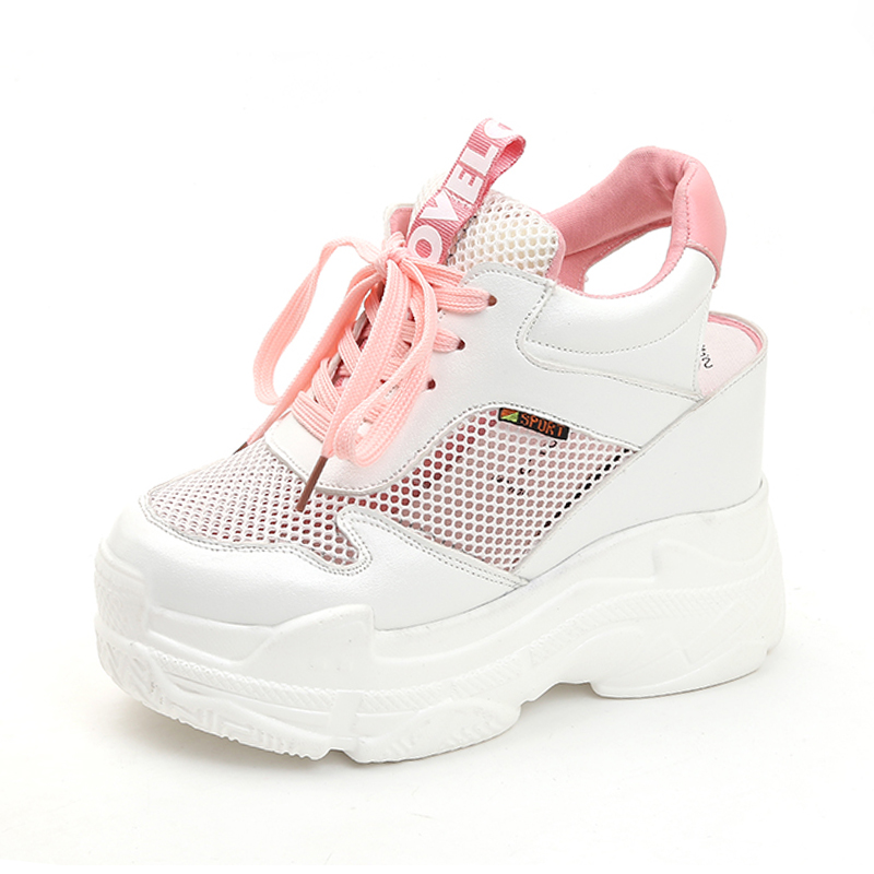 Rimocy breathable air mesh platform sneakers women 2019 summer fashion high heels wedges sandals woman casual shoes sandalias Сникеры