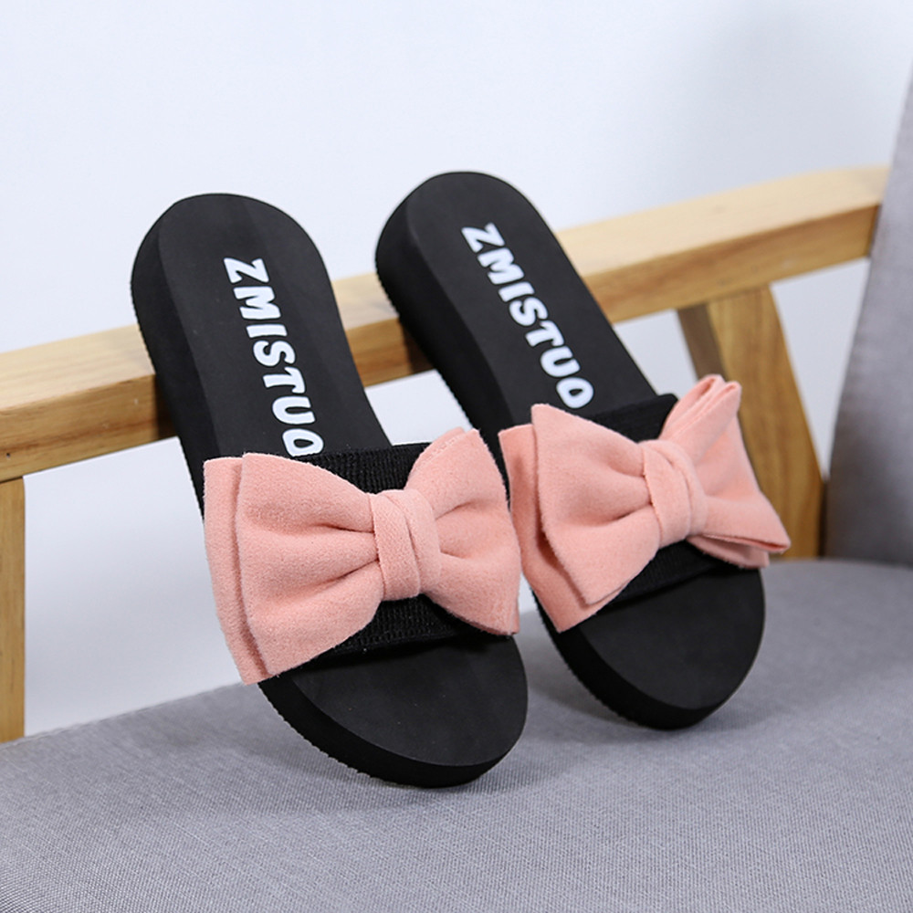 48ac819a5c8046 ... 2018 Summer Casual Women Shoes Bow Flat Sandals Beach Slippers Solid  Fashion Zapatos de Mujer. -21%. Click to enlarge