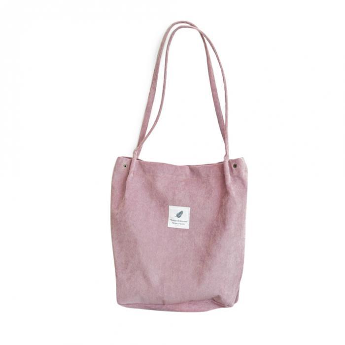 High Capacity Women Corduroy Tote Ladies Casual Shoulder Bag Foldable Reusable Shopping Beach Bag WML99 8