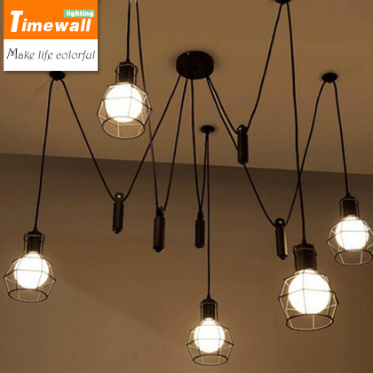 Km Vintage Industrial Nordic Loft Edison Bulb Chandelier Retro Ceiling Spider Pendants Antique Adjustable E27 Indoor Art Lights vintage nordic retro edison bulb light chandelier loft antique adjustable diy e27 art spider pendant lamp home lighting