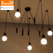 km vintage industrial nordic loft edison bulb chandelier retro ceiling spider pendants antique adjustable e27 indoor art lights