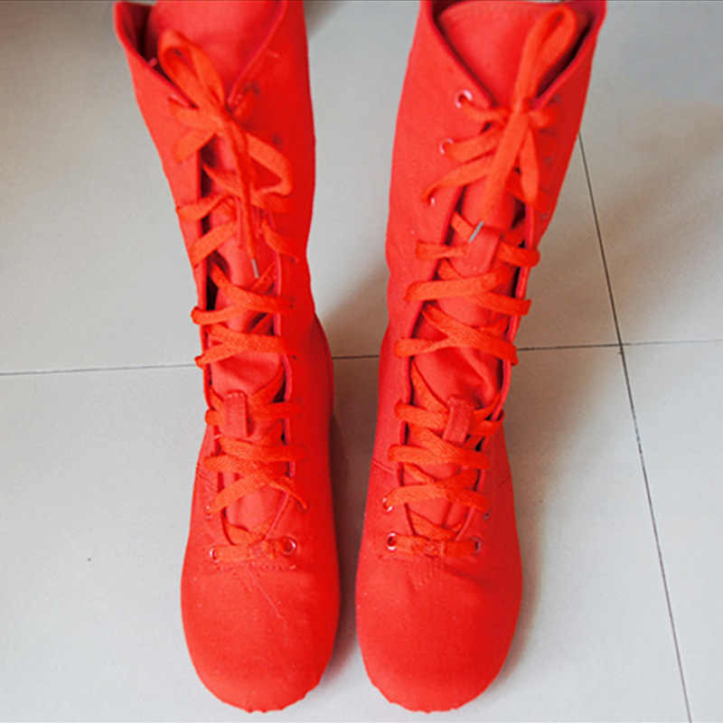 2019 New Quality Red White Black Canvas 27cm Long High Top Jazz Dance Boot Stage Dance Boots Girls Women Dance Performance Shoes