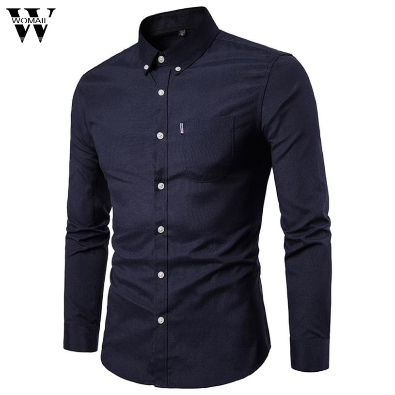 Shirts Womail New Autumn Mens Slim Long Sleeve Shirt Casual Solid Shirt Blouse Top Man Blouse 2018 L30724 Lovely Luster Casual Shirts