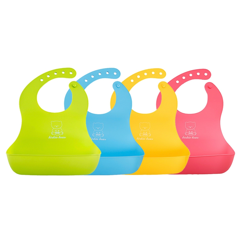 Baby Silicone Bibs Waterproof Plastic Bibs Easy Clean Silicone Baby Bibs Adjustable Plastic Baby Bibs 4 Color Baby Saliva Towel ...