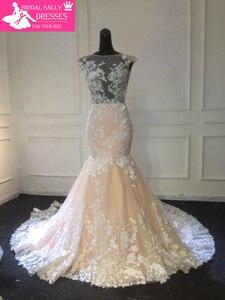 Image 5 - Champagne Mermaid Lace Wedding Dress 2019 Backless See Through Vestidos de novia Robe De Mariage MTOB1734