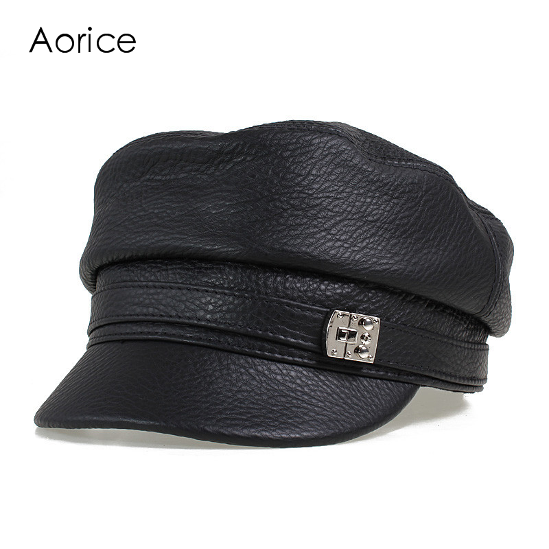 HL105  genuine leather men baseball cap hat CBD high quality  men's real leather adult solid adjustable hats caps
