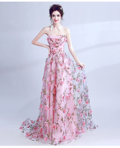 Image 5 - Walk Beside You Pink Flowers Prom Dresses 2020 Long Strapless Sweetheart vestido de formatura longo Evening Gown Party Halloween