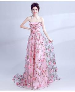 Image 5 - Walk bside You vestidos de graduación con flores, color rosa, Largo sin tirantes, encantador, vestido de formatura largo, vestido de noche para fiesta de Halloween, 2020