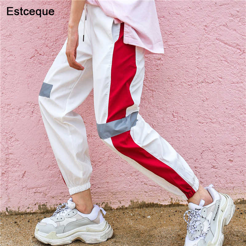 2019 New Fashion Female Hip Hop Pants High Waist Loose Harem Pants Women Slim Pants Hip Hop Casual Reflective Strip Trouser