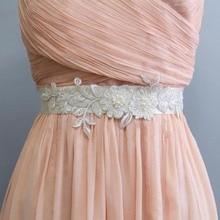 Ivory Beaded Lace with Satin Ribbon Sash, Wedding Bridal  Bridesmaid Flower Girl Sash