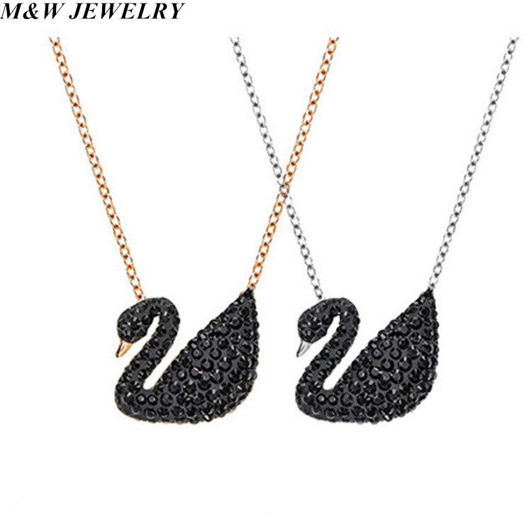 M&W JEWELRY New Hot Fashion Black Swan Elegant Charm Sexy Chain Pendant Necklace for Women Collier Choker Collar Jewelry