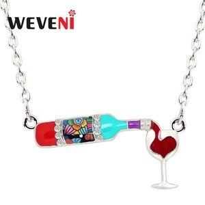 Ожерелье WEVENI, эмалированное ожерелье с цветком из стекла в виде бутылки красного вина, подвеска из сплава со стразами для женщин и девушек, п...