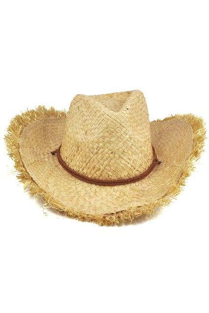 Das Mulheres dos homens Unisex Palha Cowboy Chapéu de Sol Cap Borda De  Penas Naturais 5a38a2264f