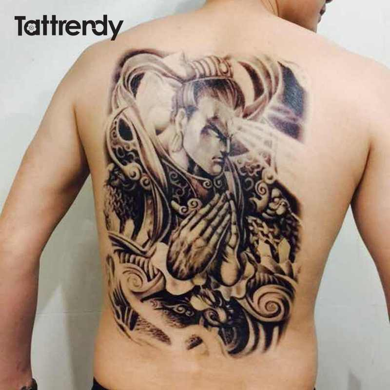 f55b01e6e ... Big Large Full Back Chest Tattoo large tattoo stickers fish wolf Tiger  Dragon waterproof temporary flash ...