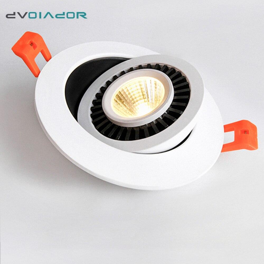 Pode ser escurecido Led downlight luz de Teto Luz Do Ponto de 360 Graus de Rotação 5 w 7 w 10 w 12 w LEVOU Teto recesso Grade Downlight